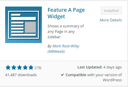 WordPress Plugin: Feature a Page Widget