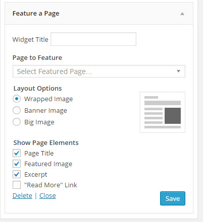 WordPress Plugins: Feature A Page Widget Options
